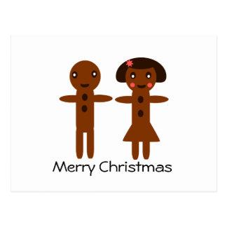 Postal Felices Navidad del hombre de pan de jengibre y