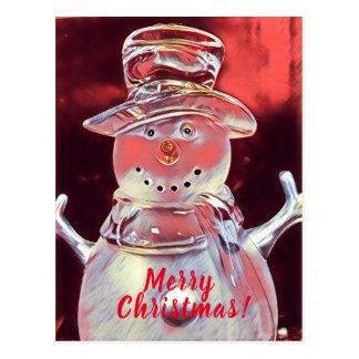 Postal Felices Navidad del muñeco de nieve
