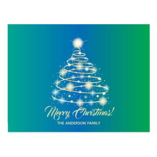 Postal Felices Navidad del oro del árbol festivo elegante