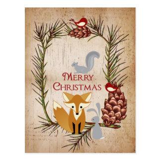 Postal Felices Navidad lindas de los animales del Fox y