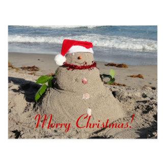 Postal ¡Felices Navidad! muñeco de nieve del coco