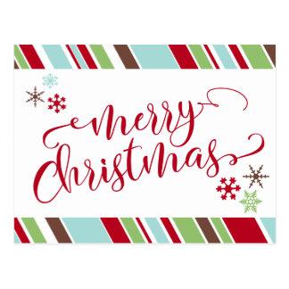 Postal Felices Navidad rojas, copos de nieve y rayas