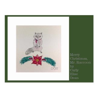 Postal Felices Navidad, Sr. Raccoon