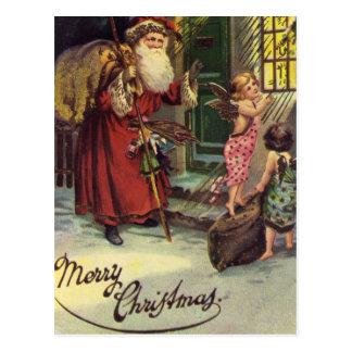 Postal Felices Navidad, vintage, Santa con ángeles