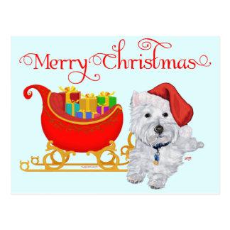 Postal Felices Navidad Westie