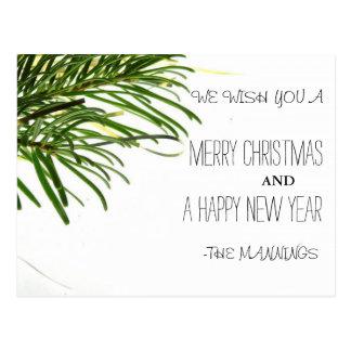 Postal Felices Navidad y árbol de la Feliz Año Nuevo