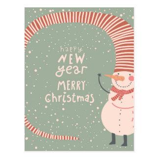 Postal Felices Navidad y un dibujo animado de la Feliz