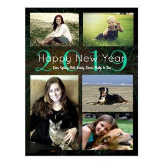 Postal Feliz Año Nuevo verde de neón del collage de la