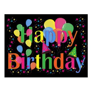 Postal Feliz cumpleaños colorido y globos