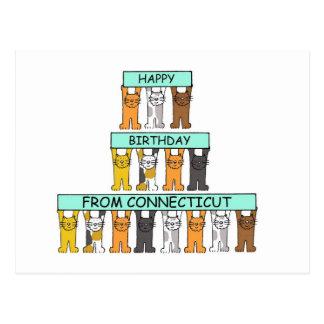 Postal Feliz cumpleaños de los gatos de Connecticut