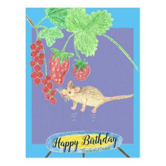 Postal Feliz cumpleaños - ratón en un trampolín