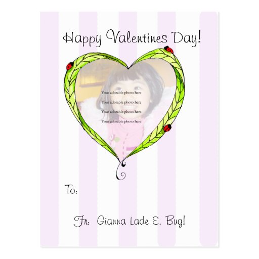 Postal feliz del corazón de la mariquita de V'Day