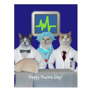 Postal feliz del día de las enfermeras del gato