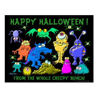 Postal Feliz Halloween Fron el manojo espeluznante del
