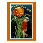 Postal Feliz linterna del o de Halloween Jack