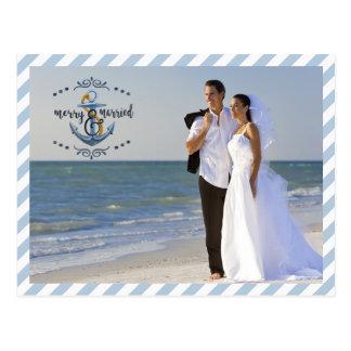 Postal Feliz náutico y casado, fotos de las Rayas-Dos del