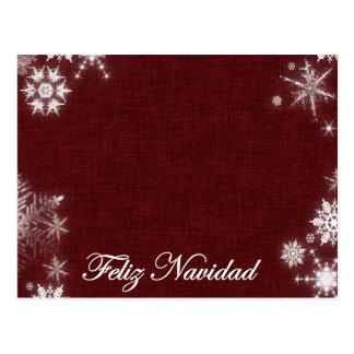 Postal Feliz Navidad rojo oscuro y blanco
