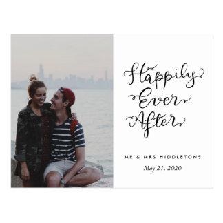 Postal Feliz nunca después de foto del boda de la