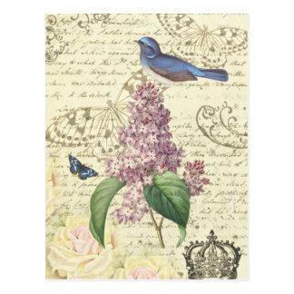 Postal femenina del vintage con el pájaro y la