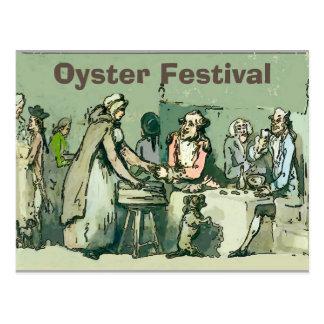 Postal Fest de la ostra, chica del vintage con las ostras
