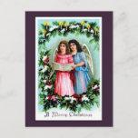 Postal Festiva Ángeles de los chicas del Victorian del vintage