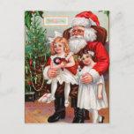 Postal Festiva El sentarse en el revestimiento de Santa
