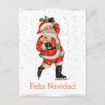 Postal Festiva Español patinador rojo de Santa del vintage de