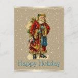 Postal Festiva Estrellas felices del oro de Santa del vintage del