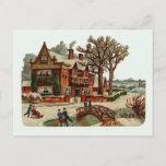 "Postal Festiva ""Postal del vintage de la escena del navidad"""