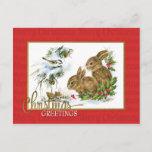 Postal Festiva Reproducción del vintage de los conejos de los