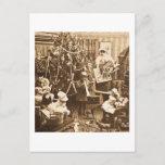 Postal Festiva Sepia de Stereoview del vintage de Santa del
