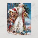 Postal Festiva Victorian Papá Noel