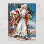 Postal Festiva Victorian Papá Noel en terciopelo rojo y la piel