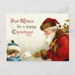 Postal Festiva Victorian Santa y niño