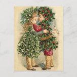 Postal Festiva Viejos niños del acebo de la moda que besan