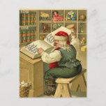 Postal Festiva Vintage Santa que comprueba su lista