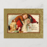 Postal Festiva Vintage Santa y niños