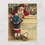 Postal Festiva WishList al niño del Victorian de Santa habla con