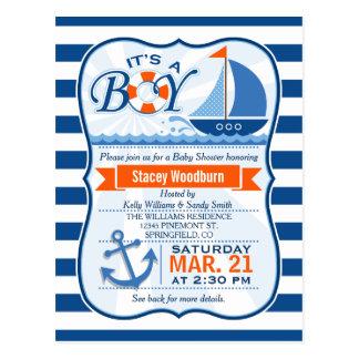 Postal Fiesta de bienvenida al bebé náutica azul y