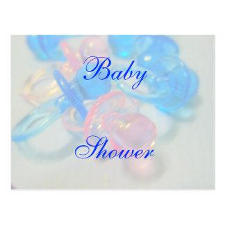 Postal Fiesta de bienvenida al bebé rosada y azul bonita