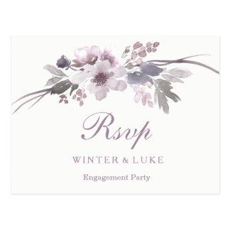 Postal Fiesta de compromiso floral del invierno púrpura