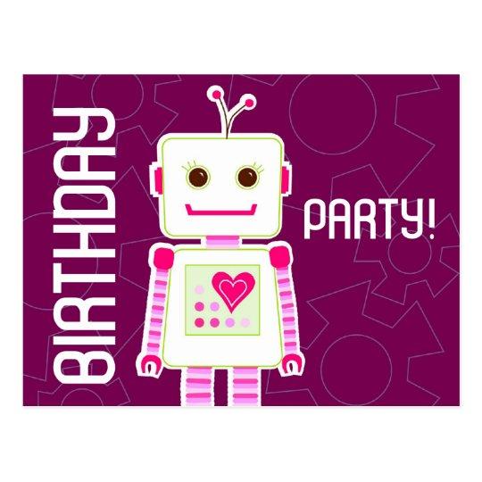Postal Fiesta de cumpleaños del robot del chica,
