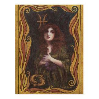 Postal Figura decorativa diseño de Piscis