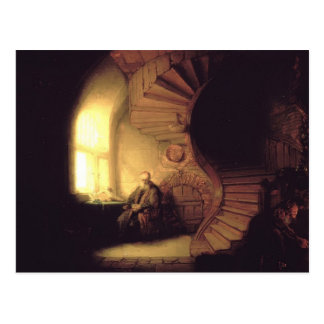 Postal Filósofo de Rembrandt en la meditación