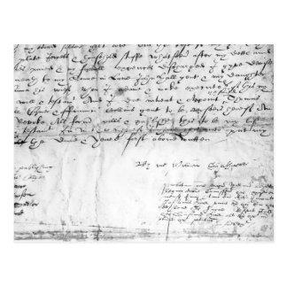 Postal Firma de William Shakespeare, 1616