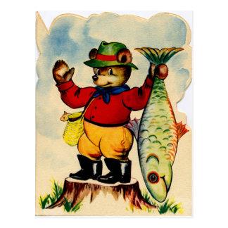 Postal Fisherbear con su captura del día