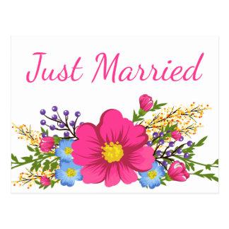 Postal Flor casada floral del boda de la acuarela del