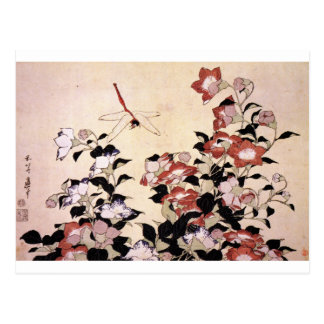 Postal Flor de Bell y libélula chinas
