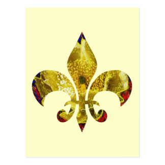 Postal Flor de lis de oro;   Serie del tatuaje de