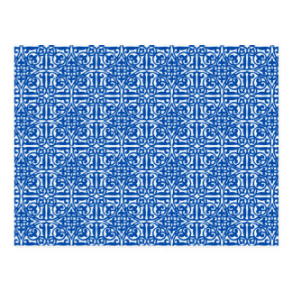 Postal Flor de lis medieval del damasco, azul de cobalto